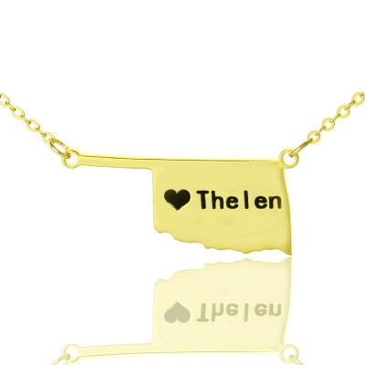 America Oklahoma State USA Map Necklace With Heart  Name Gold Plated - By The Name Necklace;