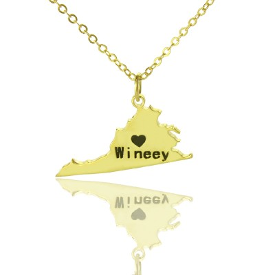 Virginia State USA Map Necklace With Heart  Name Gold Plated - By The Name Necklace;