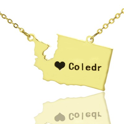 Washington State USA Map Necklace With Heart  Name Gold Plated - By The Name Necklace;