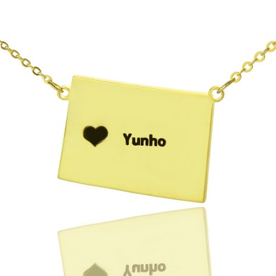 Wyoming State Shaped Map Necklaces With Heart  Name Gold Plated - By The Name Necklace;
