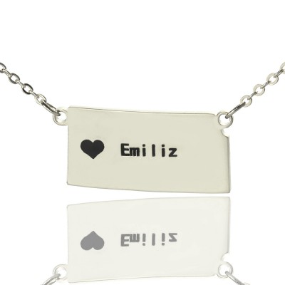 Custom Kansas State Shaped Necklaces With Heart  Name Silver - By The Name Necklace;