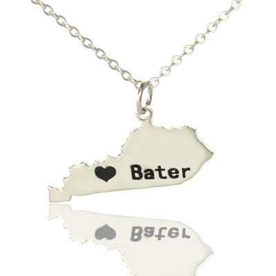Custom Kentucky State Shaped Necklaces With Heart  Name Silver - By The Name Necklace;