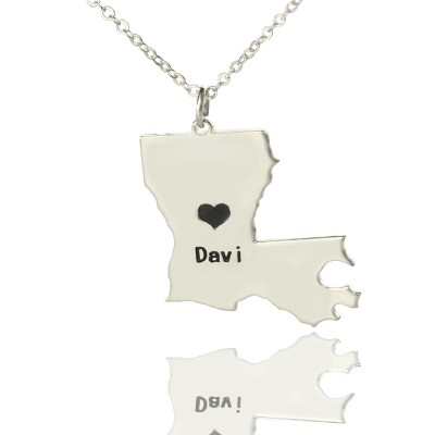 Custom Louisiana State Shaped Necklaces With Heart  Name Silver - By The Name Necklace;