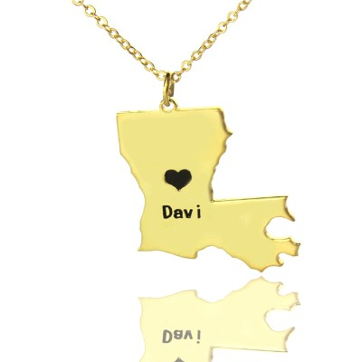 Custom Louisiana State Shaped Necklaces With Heart  Name Gold Plated - By The Name Necklace;