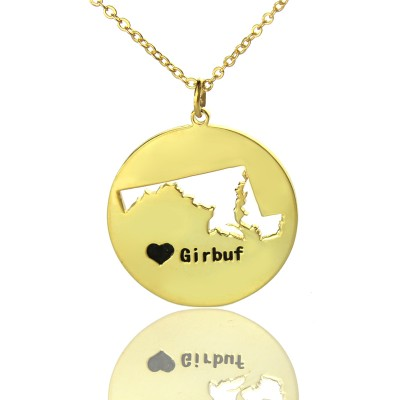 Custom Maryland Disc State Necklaces With Heart  Name Gold Plated - By The Name Necklace;
