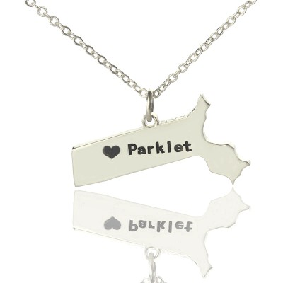 Massachusetts State Shaped Necklaces With Heart  Name Silver - By The Name Necklace;