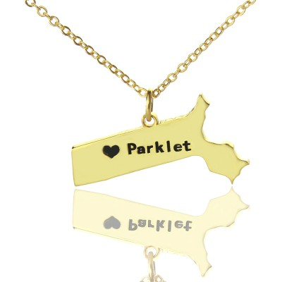 Massachusetts State Shaped Necklaces With Heart  Name Gold Plated - By The Name Necklace;