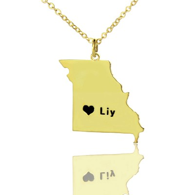 Custom Missouri State Shaped Necklaces With Heart  Name Gold Plated - By The Name Necklace;