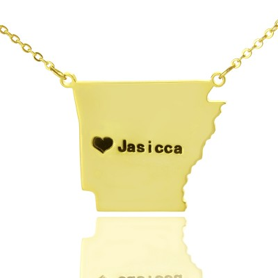 Custom AR State USA Map Necklace With Heart  Name Gold Plated - By The Name Necklace;