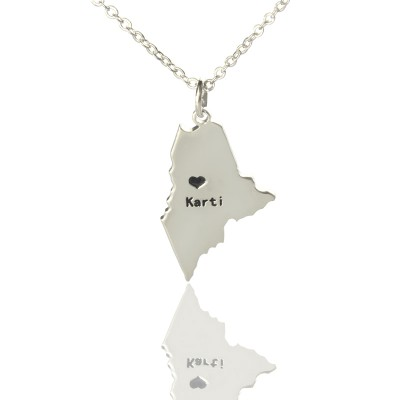 Custom Maine State Shaped Necklaces With Heart  Name Silver - By The Name Necklace;