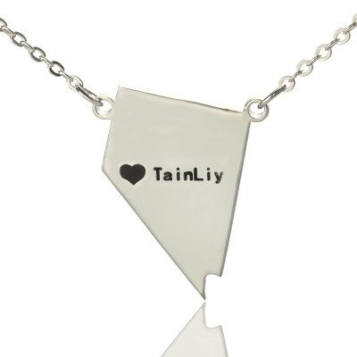Custom Nevada State Shaped Necklaces With Heart  Name Silver - By The Name Necklace;