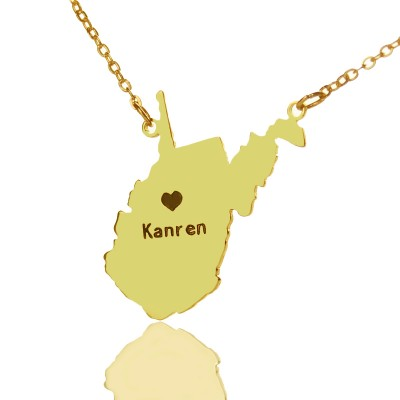 Custom West Virginia State Shaped Necklaces With Heart  Name Gold - By The Name Necklace;