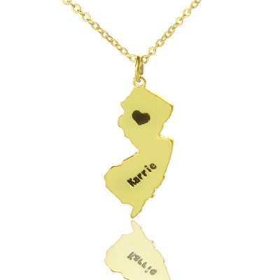 Custom New Jersey State Shaped Necklaces With Heart  Name Gold - By The Name Necklace;