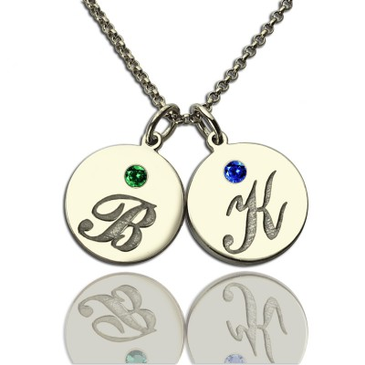 Personalised Disc Necklace with Initial  Birthstone  - By The Name Necklace;