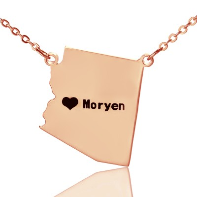Custom Arizona State Shaped Necklaces With Heart  Name Rose Gold - By The Name Necklace;