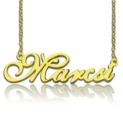 Personalised Nameplate Necklace 18ct Gold Plated - By The Name Necklace;