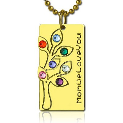 Mothers Birthstone Family Tree Necklace Sterling Silver  - By The Name Necklace;