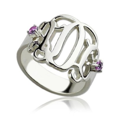 Birthstone Monogram Rings For Women Sterling Silver  - By The Name Necklace;