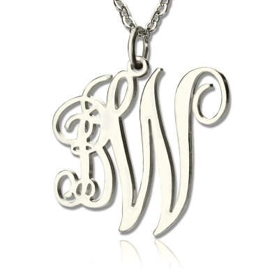 Personalised Vine Font 2 Initial Monogram Necklace 18ct Solid White Gold - By The Name Necklace;