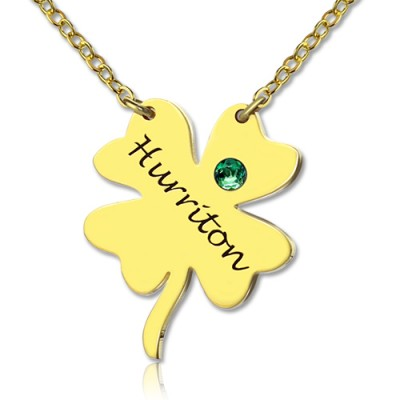 Good Luck Things - Clover Necklace 18ct Gold Plated - By The Name Necklace;
