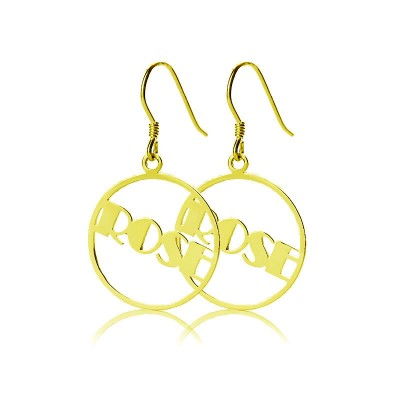 18ct Gold Plated Broadway Font Circle Name Earring - By The Name Necklace;