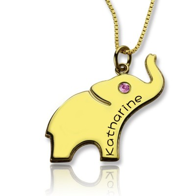 Elephant Lucky Charm Necklace Engraved Name 18ct Gold Plated With My Engraved