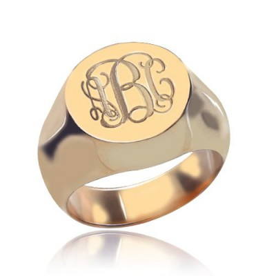 CIrcle Designs Signet Monogram Initial Ring Rose Gold - By The Name Necklace;