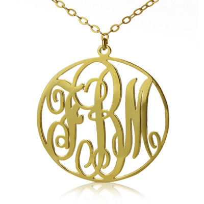 Solid Gold Vine Font Circle Initial Monogram Necklace-18ct - By The Name Necklace;