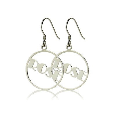 Sterling Silver Broadway Font Circle Name Earrings - By The Name Necklace;