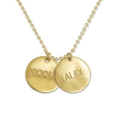 18ct Gold Mum Jewellery - Multi Disc Necklace - By The Name Necklace;