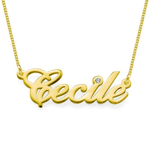 18ct Gold and Diamond Name Necklace - By The Name Necklace;