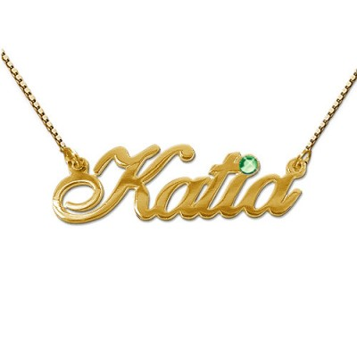 18ct Gold and Swarovski Crystal Name Pendant - By The Name Necklace;