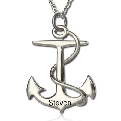 Anchor Necklace Charms Engraved Your Name Silver With My Engraved