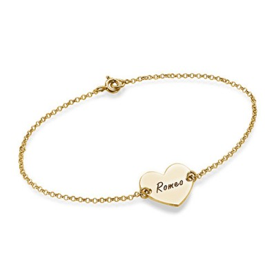 18ct Gold Plated Engraved Couples Heart Bracelet/Anklet With My Engraved