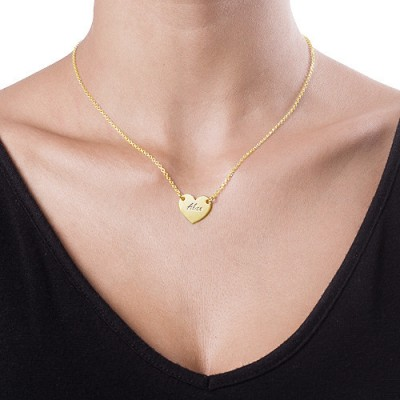 18ct Gold Plated Heart Necklace with Engraving With My Engraved