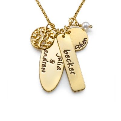 18ct Gold Plated Silver Family Tree Jewellery - By The Name Necklace;