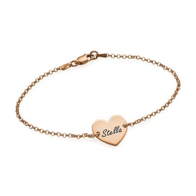 18ct Rose Gold Plated Engraved Heart Couples Bracelet/Anklet With My Engraved