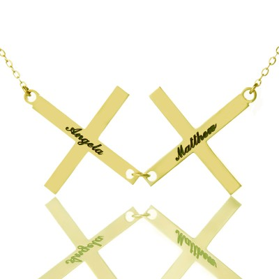 Gold Plated 925 Silver Greece Double Cross Name Necklace - By The Name Necklace;