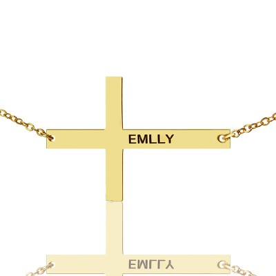 """Gold Plated Silver Latin Cross Necklace Engraved Name 1.6"""" With My Engraved"""
