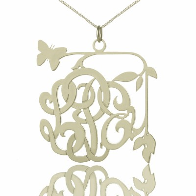 Custom Butterfly Script Monogram Necklace Sterling Silver - By The Name Necklace;