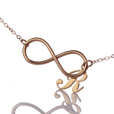 Rose Gold Plated Infinity Initial Necklace - By The Name Necklace;