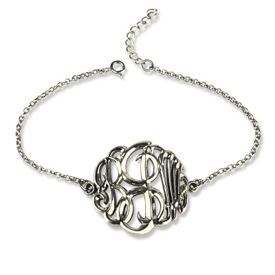 Sterling Silver Monogram Bracelet Hand-painted - By The Name Necklace;