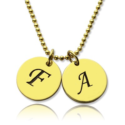 Personalised Initial Charm Discs Necklace 18ct Gold Plated - By The Name Necklace;