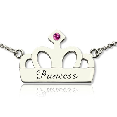 Crown Charm Neckalce with Birthstone  Name Sterling Silver  - By The Name Necklace;