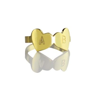 Custom Double Heart Ring Engraved Letter 18ct Gold Plated With My Engraved