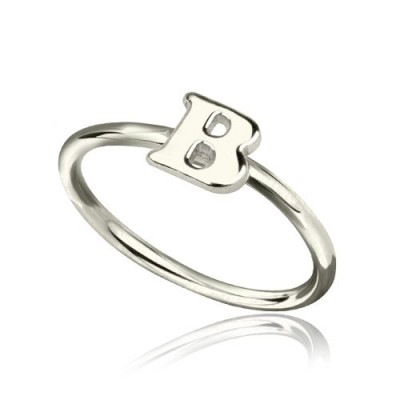 Personalised Women's Midi Initial Ring Sterling Silver - By The Name Necklace;