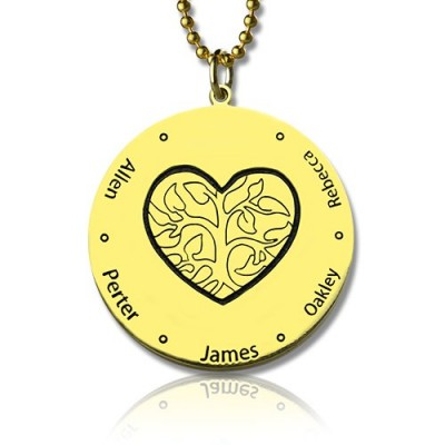 Heart Family Tree Necklace in 18ct Gold Plating - By The Name Necklace;