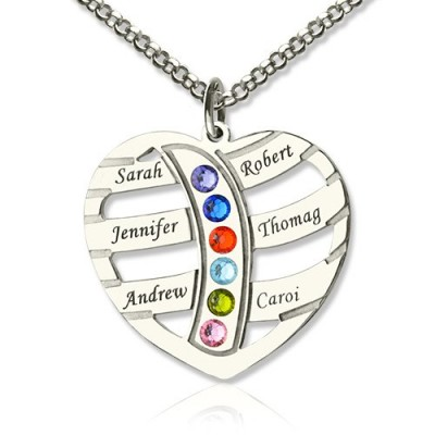 Moms Necklace With Kids Name  Birthstone In Sterling Silver  - By The Name Necklace;
