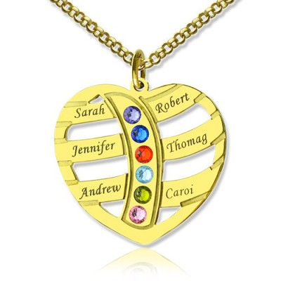 Mothers Necklace With Children Names  Birthstones 18ct Gold Plated  - By The Name Necklace;