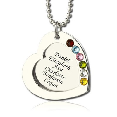 Heart Family Necklace With Birthstone Sterling Silver  - By The Name Necklace;